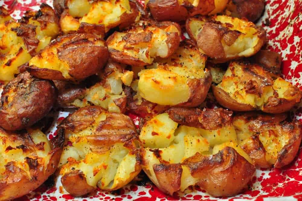 Rotisserie Pan Smashed Potatoes - Dad Cooks Dinner