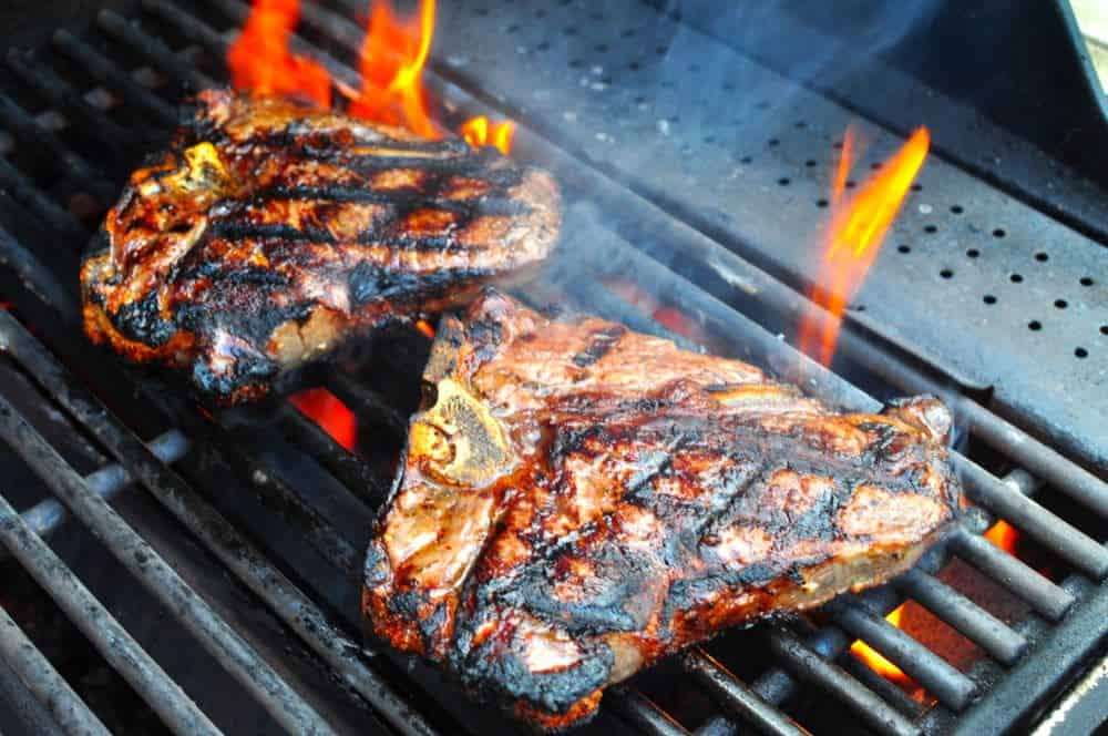 Grilled T-Bone Steaks with Olive Oil, Lemon, Garlic, and ...