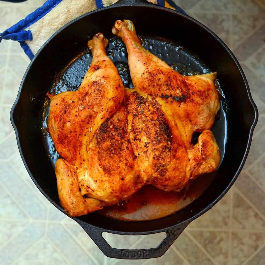 Cast iron roasted butterflied chicken dad cooks dinner Cooking turkey split in half