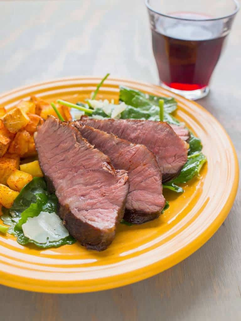 Sous Vide Flat Iron Steak with Baby Kale Salad - Dad Cooks ...