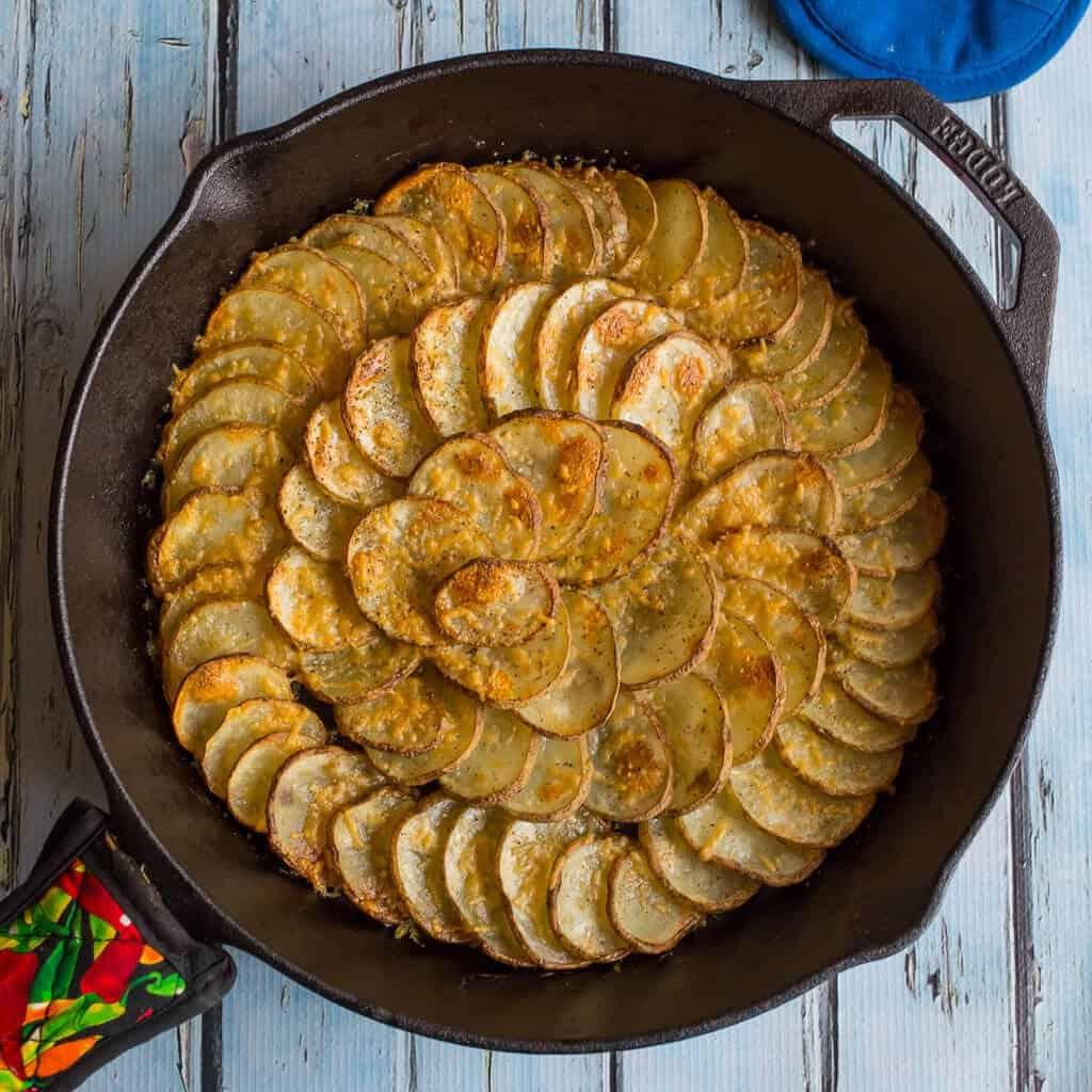 Cast Iron Spiral Skillet Potatoes - Dad Cooks Dinner